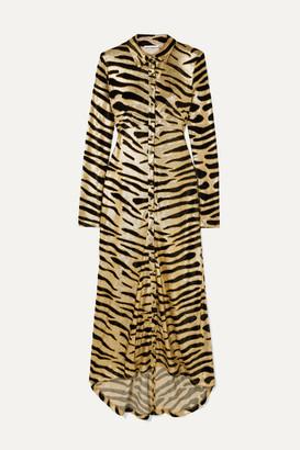 Paco Rabanne Velvet-flocked Lame Maxi Dress - Gold