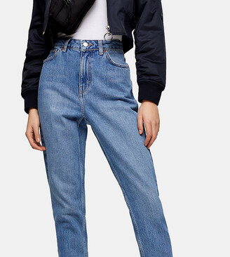 BNWT Topshop Light Blue Double Ripped Mom Jeans UK 6 W25 L32