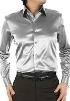 SILKQA Men's Regular-Fit Solid Color Dance Prom Dress Shirt (L, )