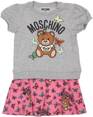 Moschino Logo Print Cotton Sweater Dress