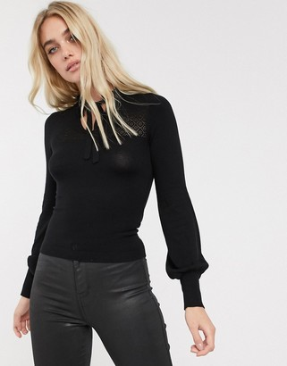 Fashion Union fitted pointelle jumper with keyhole-Black