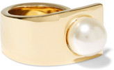 Givenchy Faux Pearl Ring In Gold-tone Brass - M