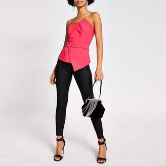 River Island Womens Pink diamante belted bandeau top