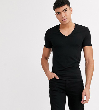 ASOS DESIGN Tall muscle fit t-shirt with deep v neck in black
