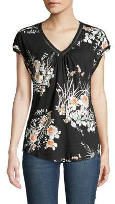 Daniel Rainn Floral-Print V-Neck Top