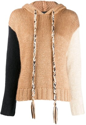 Alanui colour-block hooded jumper