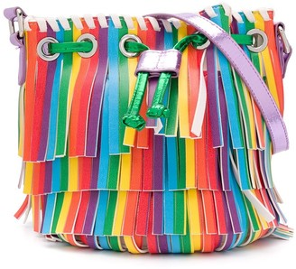 Stella McCartney Kids TEEN rainbow fringe bucket bag
