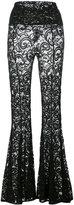 Norma Kamali flared lace trousers - women - Nylon/Spandex/Elastane - M