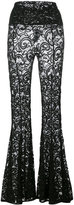 Norma Kamali flared lace trousers - women - Nylon/Spandex/Elastane - S