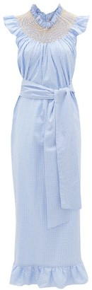 Loretta Caponi - Delfina Smocked Gingham Cotton Maxi Dress - Womens - Blue Print
