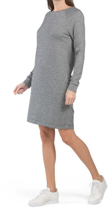 Raglan Sleeve Crew Neck Jacquard Dress