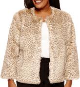 WORTHINGTON Worthington Cropped Faux-Fur Jacket - Plus