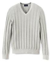 Lands' End Men's Classic Fit Supima Cotton Texture V-neck Sweater-Modern Stewart Dress Tartan