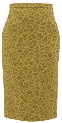 Rochas High-rise Floral-cloque Midi Skirt - Green