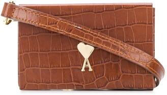 AMI Paris Mini Crocodile-Embossed Crossbody Bag