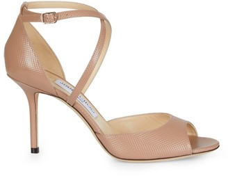 Jimmy Choo Emsy Peep-Toe Embossed Leather Sandals