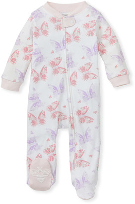 Burt's Bees Butterfly Buddies Organic Baby Zip Front Loose Fit Footed Pajamas