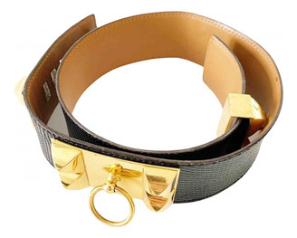 Hermã ̈S HermAs Collier de chien Black Lizard Belts