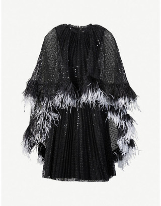 Huishan Zhang Dora cape-overlay sequin-embellished mini dress