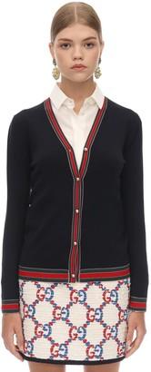 Gucci Wool Knit Cardigan W/web Detail