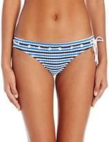 Jessica Simpson Women's Maritime Stripe Classic Hipster Bikini Bottom