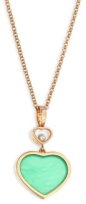 Chopard Happy Hearts 18K Rose Gold, Diamond & Chrysoprase Pendant Necklace