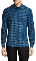Z Zegna Printed Spread Collar Dress Shirt