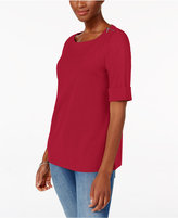Karen Scott Elbow-Sleeve Zip-Shoulder Top, Only at Macy's
