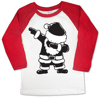 Micro Me Boys' Tee Shirts Wht/Red - White & Red Santa Dab Raglan Tee - Toddler & Boys