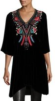Johnny Was Ava Embroidered Velvet Tunic/Dress, Black, Plus Size