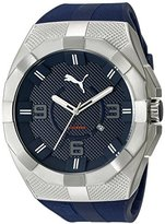 Puma Men's PU103921002 Iconic S Textured Stainless Steel Watch with Blue Band