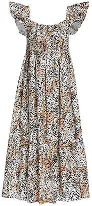 Sea Leopard Print Smocked Short-Sleeve Dress