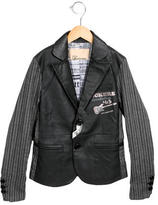 John Galliano Boys' Vegan Leather-Paneled Pinstripe Blazer