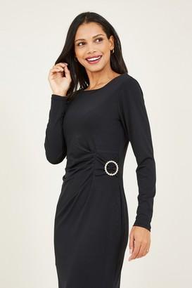 Yumi Black Buckle Bodycon Dress
