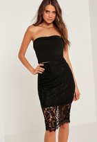 Missguided Half Sheer Lace Midi Skirt Black