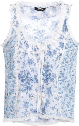 Love Sam Lace-trimmed Floral-print Cotton-gauze Top