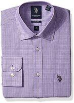 U.S. Polo Assn. Men's Tattersal Plaid Semi Spread Collar Dress Shirt
