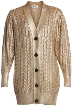 MSGM Metallic Cable-Knit Cardigan