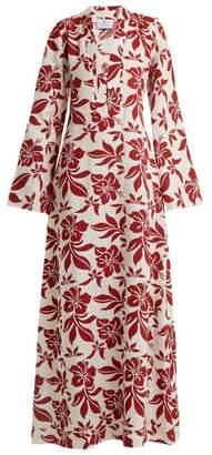 Rebecca De Ravenel Athena Floral-print V-neck Kaftan - Womens - Red Multi