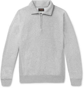 Beams Melange Fleece-Back Cotton And Wool-Blend Half-Zip Sweatshirt