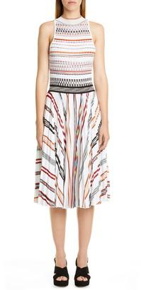 Missoni Stripe Pleated Sleeveless Knit Midi Dress