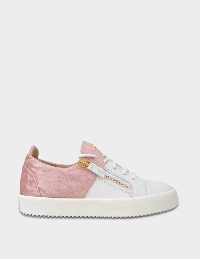 Giuseppe Zanotti Two Tone Sneakers in White Leather