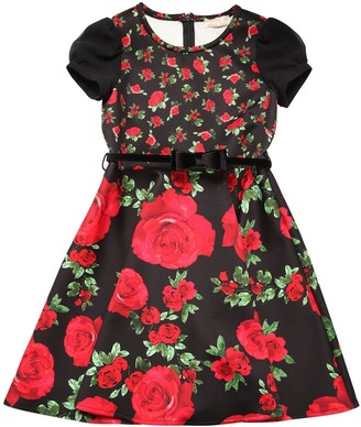 MonnaLisa Rose Print Neoprene Party Dress