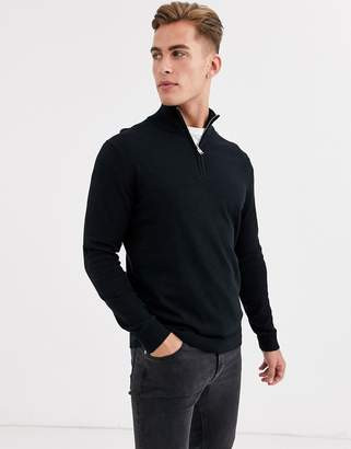 Selected quarter zip knitted jumper in black