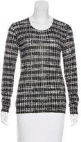 Lela Rose Wool & Silk Long Sleeve Top