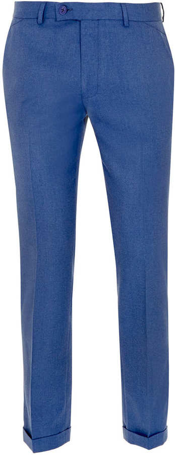 Topman Cobalt Flannel Skinny Dress Pants