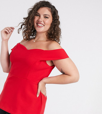 Simply Be bardot top in red