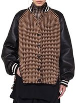 Akris Textured Oversized Bomber Jacket with Leather Sleeves, Black/Brown
