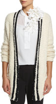 Brunello Cucinelli Long-Sleeve Contrast-Trim Cardigan, Butter/Black
