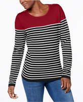Karen Scott Button-Shoulder Striped Sweater, Created for Macy's